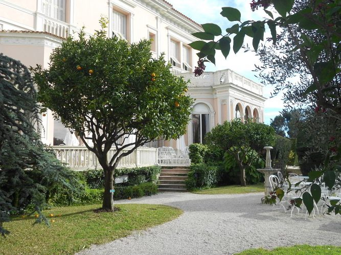 The front of the Rothschild villa and gardens on the Côte d'Azure