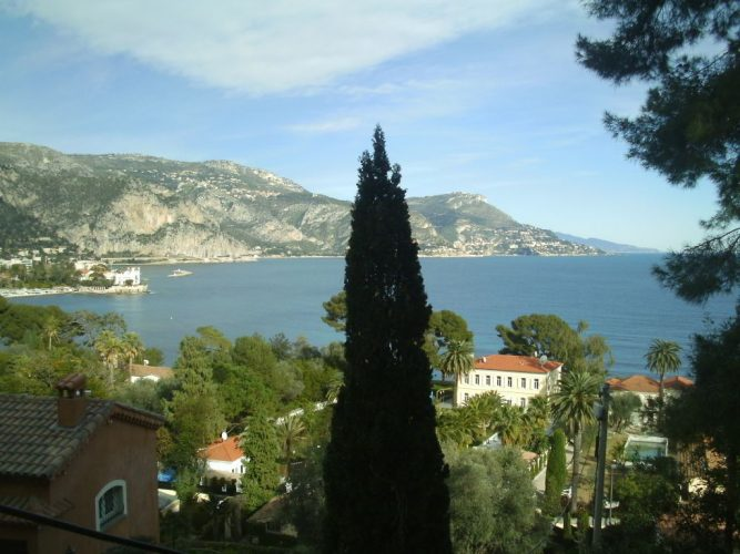 A view from above the beautiful Rothschild villa and gardens and out to sea in the French Riviera