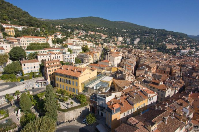 A view from above of the village of Grasse, the perfume capital of the world