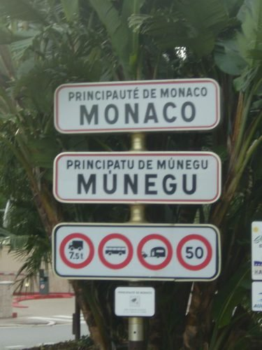 Monaco border signs