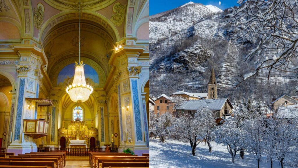 The pretty village of St Etienne in the French Alps with the historic church in the snow