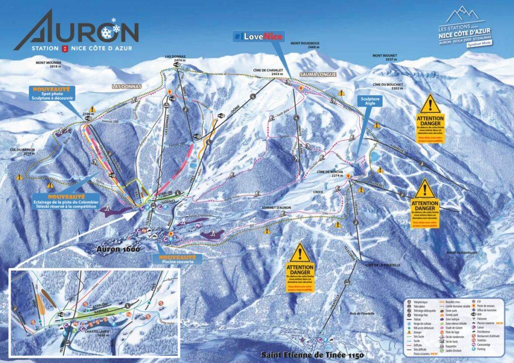 Eine Pistenskikarte des Auron Resorts in den französischen Alpen