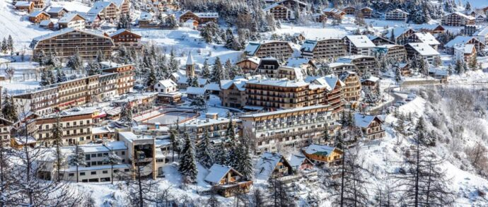 The pretty snow covered village of Auron in Winter, Ski the French Alps