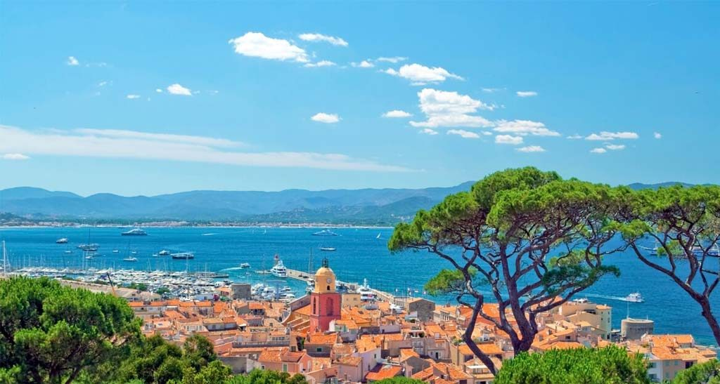 The beautiful Azure sea of the French Riviera boat trip from Nice to St. Tropez, France