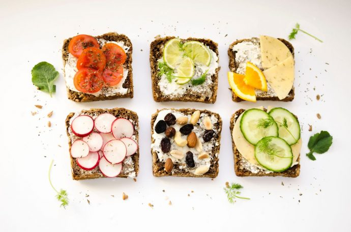 Healthy toast with cream cheese and vegetables, fitness bootcamp