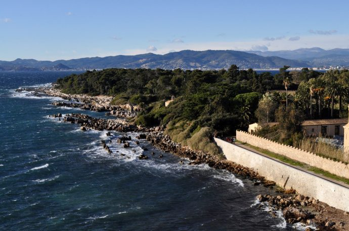 The pretty coastline of ile Saint Honorat island near Cannes, great days out on the French Riviera