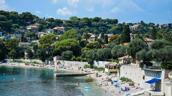 A pretty beach lined with pine tree at Cap Ferrat, near Nice, France