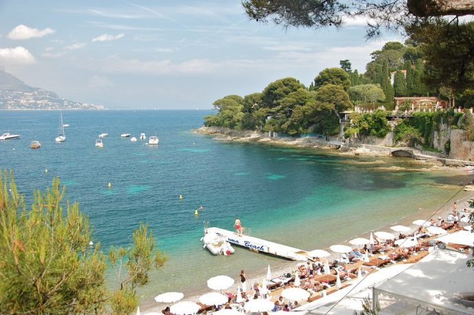 The beautiful bay of Cap Ferrat Paloma beach with it's famous waterside restaurant