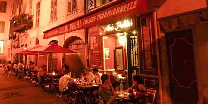 The Dehli Behli restaurant exterior in the old town of Nice, top 10 restaurants