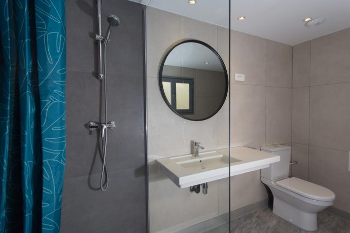 New bathroom with large mirror and walk in shower and mirror, Nice accommodation