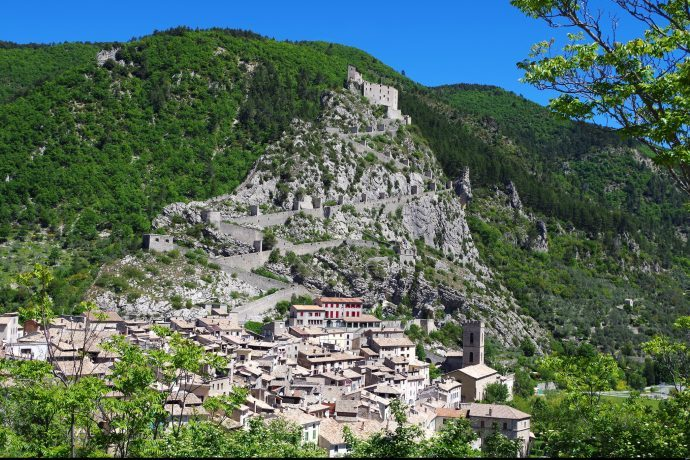 The beautiful historic village of Entrevaux set into the mountains