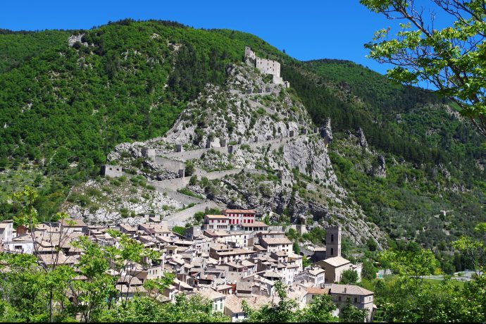 french village on a mountain