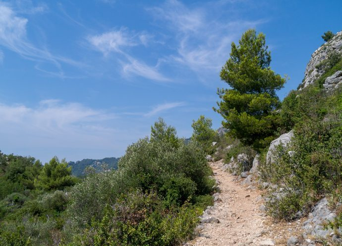 A pretty hiking trail on a sunny day near Eze, visit from Villa Hostels