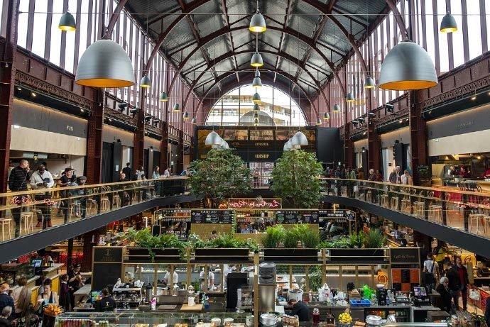 Gare du Sud food market in the old train station, Nice, France