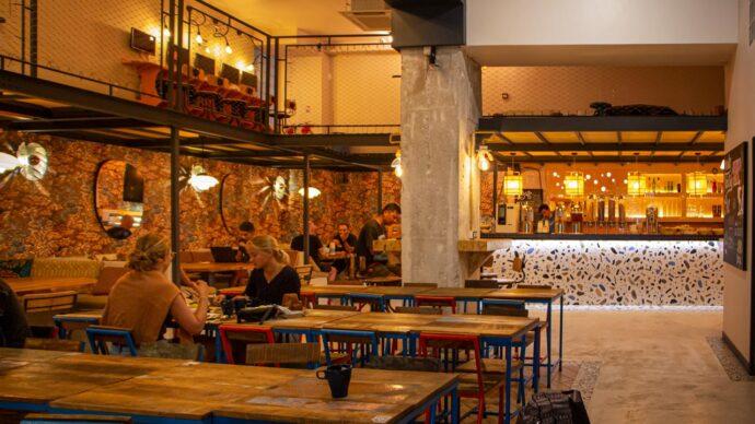 A cool breakfast bar in a hostel in Nice, France