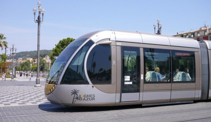 A new modern tram in Nice, France