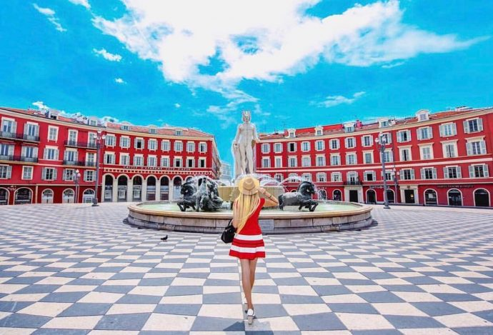 The chequered paving of Place Massena near Villa Hostels, Nice, France