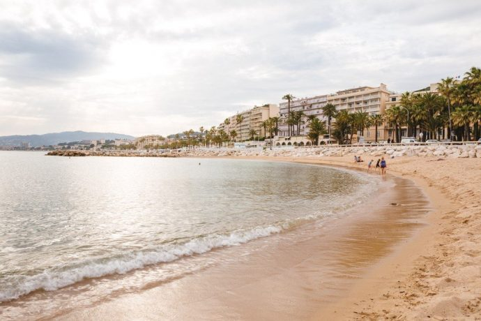 A sandy beach lined with palm trees in Cannes, visit from Villa Hostels in Nice