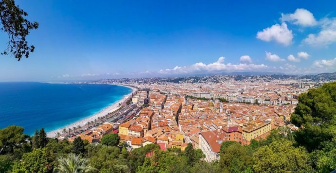 View of Nice Old town and beach from above, the best things to do in Nice, France