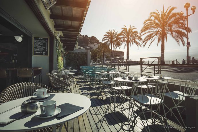 The terrace of Movida club and cafe, nightclubs in Nice with Villa Hostels
