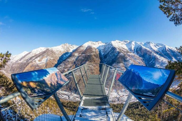 A panoramic viewpoint over the mountains at Auron ski resort, French alps