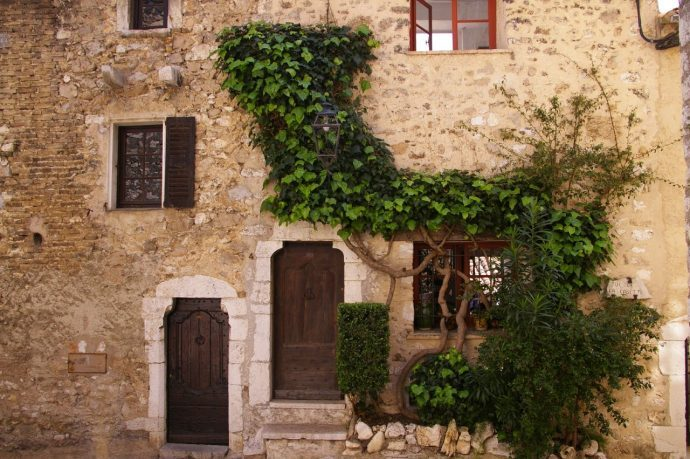 An old stone facade with wooden doors and plants growing up it