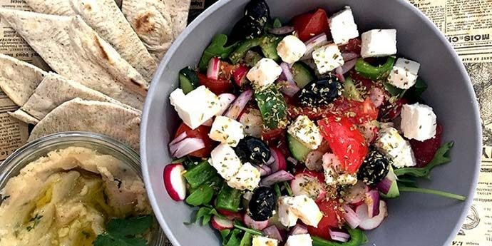 A greek salad bowl at Saj restaurant in Nice