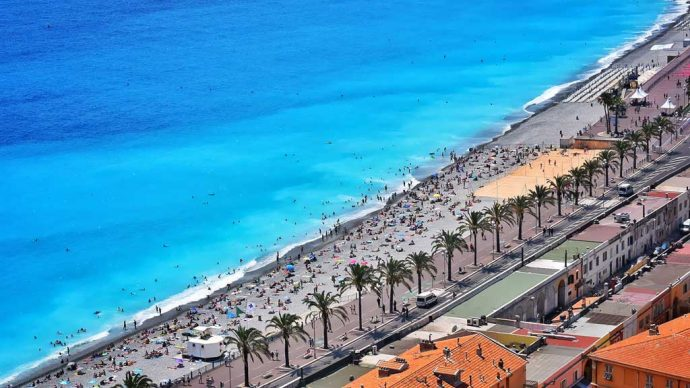 The beaches of the French Riviera, Nice, France