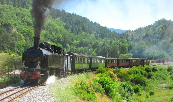 A steam train in southern france, near Nice, with Villa Hostels